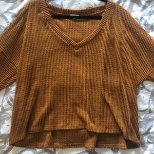 Brown Cropped V Neck Sweater